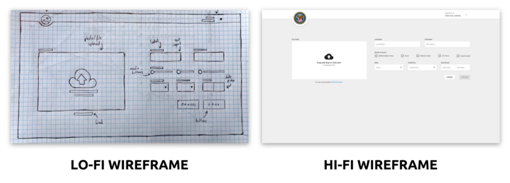 The lo-fi and hi-fi wireframes showing the same screen.